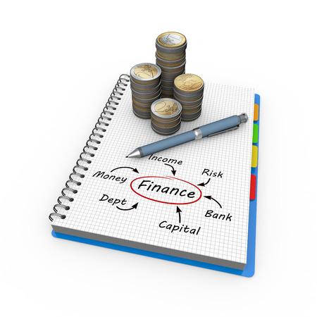 Financial concept illustration design over a notebook Stock Illustration - 23387955