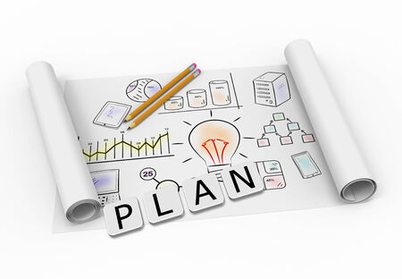 Creative cubes with element drawing business plan photo