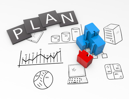 Business plan flow chart on the drawing Standard-Bild