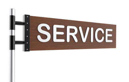 Direction sign with service word photo