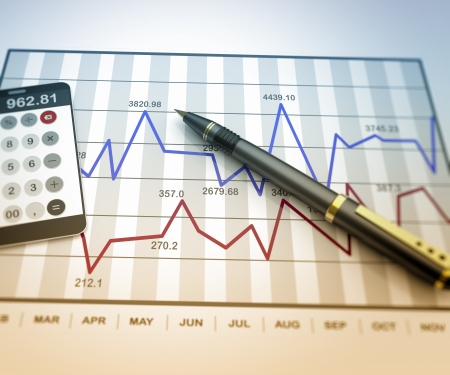 Pen and calculator on stock chart Stockfoto