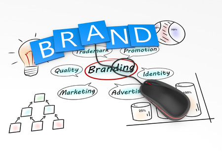brand label: Branding and marketing as concept Stock Photo
