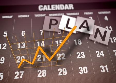 calendar: Business planning and charts as concept