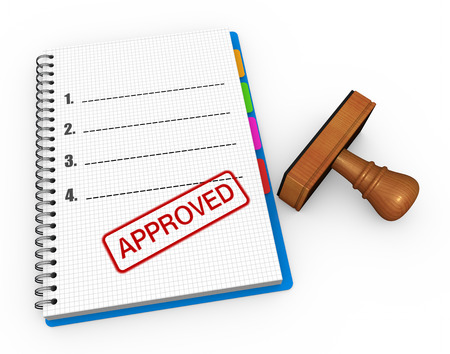 Notebook and rubber stamp with the word approved Stock Photo - 24165296