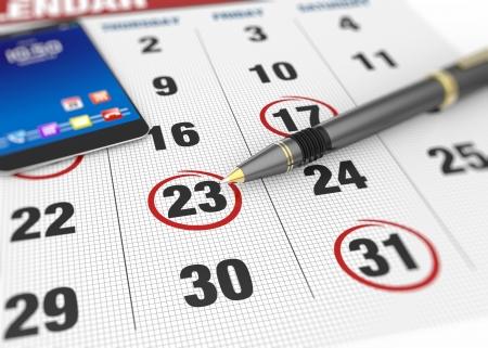 Pen and calendar on calendar Standard-Bild