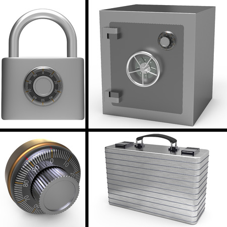 Security concept with safe and padlock photo