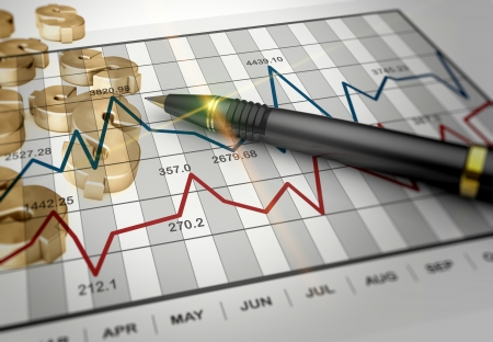 financial reports: Business report graph as a concept