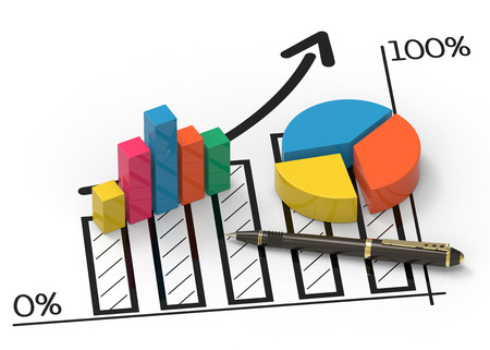 Financial data in form of charts and diagrams
