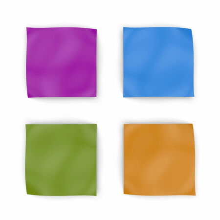 stack of files: Four colorful blank note paper for text