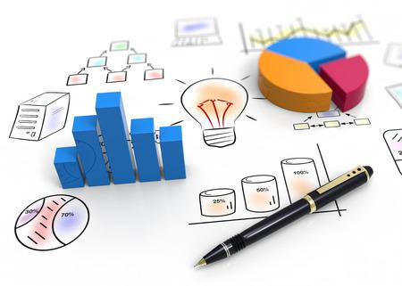 cartes d'affaires et des graphiques comme notion