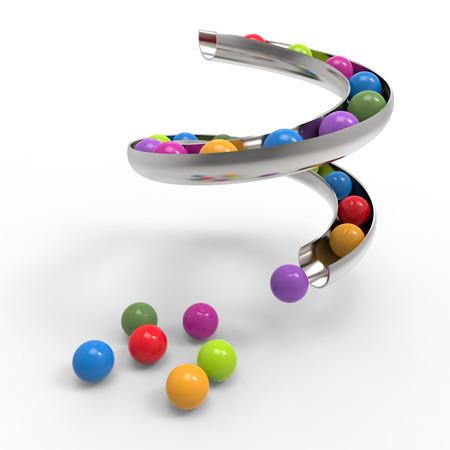 bubble gum: Gum ball rolling down the slides