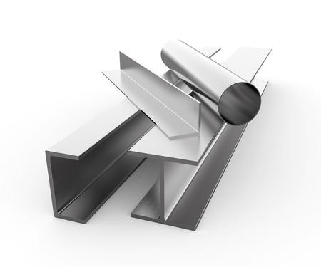 acier: Produits métalliques laminés sur fond blanc