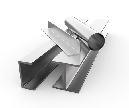 Rolled metal products on white background Standard-Bild