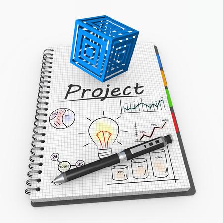 Spiral notebook with hand drawn graphs Standard-Bild