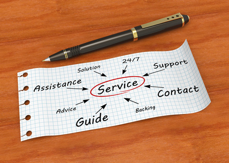 Note paper with pen and words service Stock Photo
