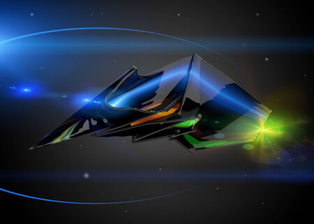 Futuristic spaceship in the universe photo