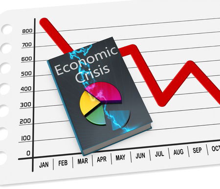 and decline: Book of the economic crisis, with data Stock Photo