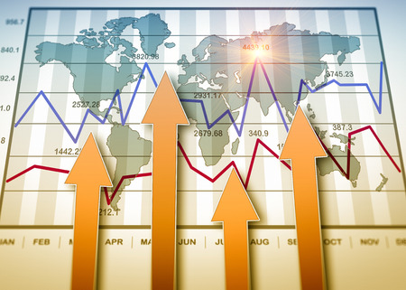 international monitoring: Business charts and graphs as concept Stock Photo