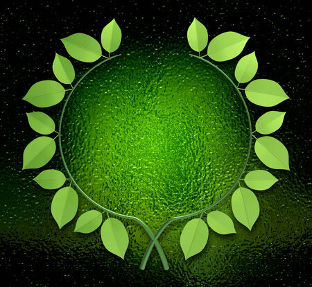 frosted window: Green laurel wreath as concept Stock Photo