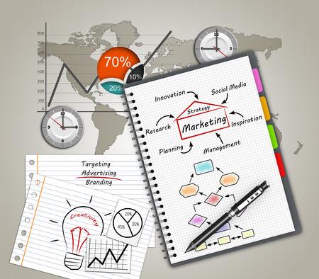 worldmap: Marketing concept illustration design over a notebook