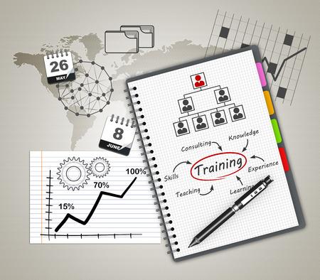 Training concept illustration design over a notebook