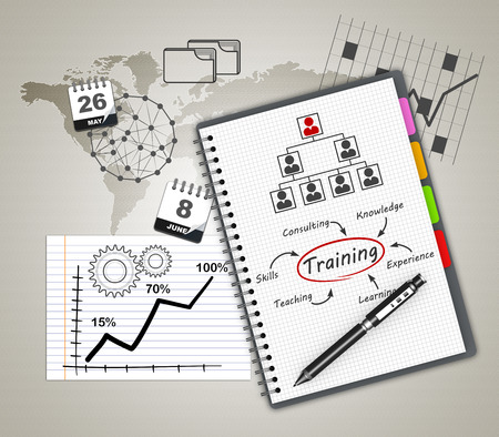 Training concept illustration design over a notebook Stock fotó - 26368648