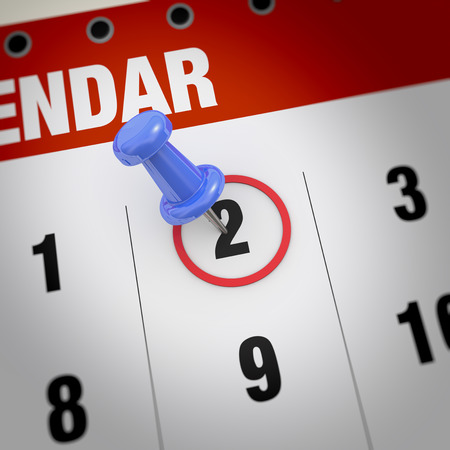 2 months: Calendar and blue pushpin. Mark on the calendar at 2. Stock Photo