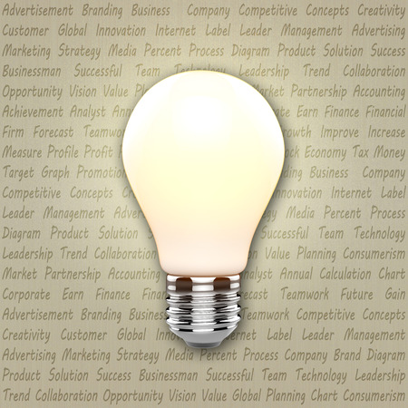 Light bulb with business marketing text photo
