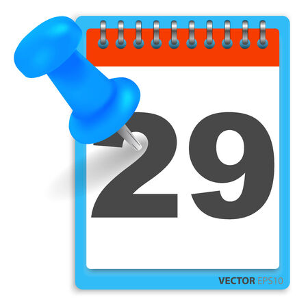 annual events: Calendar and blue pushpin. Mark on the calendar at 29. Illustration