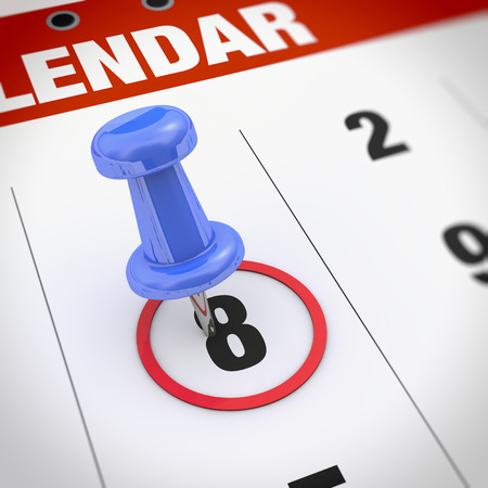 event planner: Calendar and blue pushpin. Mark on the calendar at 8.