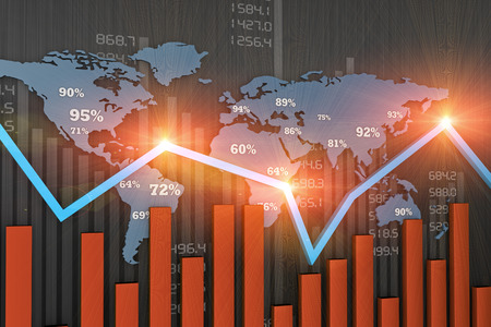 経済発展と金融ビジネス グラフ 写真素材