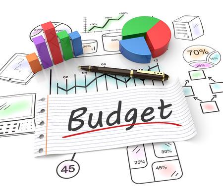 crisis economica: Gráfico de sectores en un gráfico de cotizaciones con un presupuesto