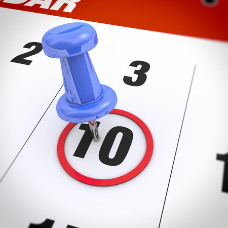 number 10: Calendar and blue pushpin. Mark on the calendar at 10. Stock Photo