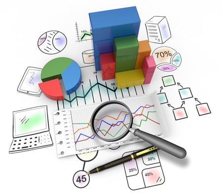 information analysis: Magnifying glass and pen over graph as concept