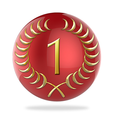 Red sphere with golden laurel wreath with the number 1 photo