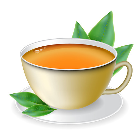 india food: Cup of tea with tea leaves in the background