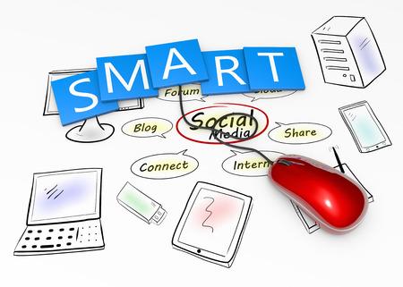 Smart social media as a concept photo
