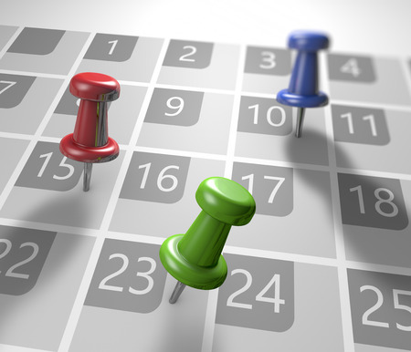kalendarz: Kalendarz z pinezkami jako koncepcji wydarzeń