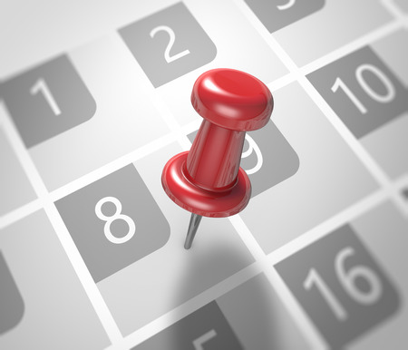 event planner: Calendar and red pushpin. Mark on the calendar at 8. Stock Photo