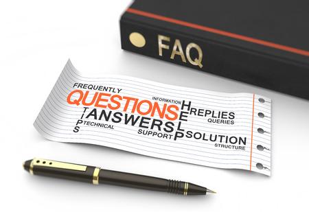 onbeantwoorde: Veelgestelde vragen concept met woorden in een woordwolk