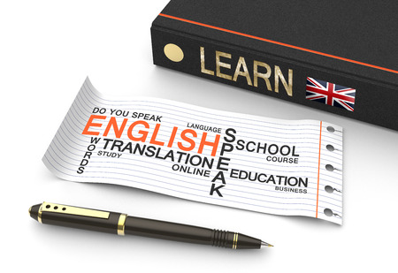 Learn english concept with words in a word cloud photo