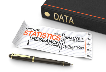 Data statistics concept with words in a word cloud photo