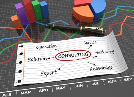 Consultation mot écrit sur papier ligné comme un concept Banque d'images - 30505070