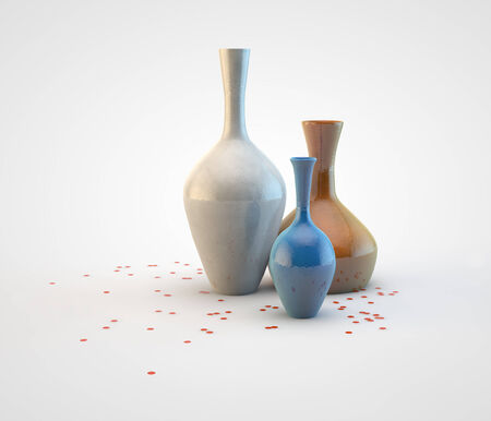 ceramic bottle: Set of modern vases with confetti Stock Photo
