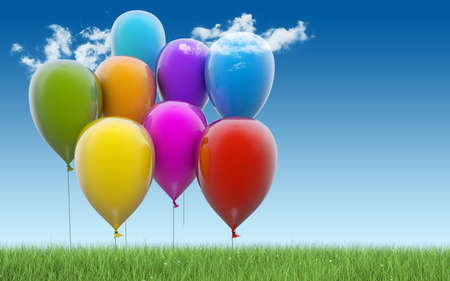 baloons: Colorful balloons on blue background with grass