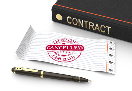 Stempel geannuleerd met contract document Stockfoto
