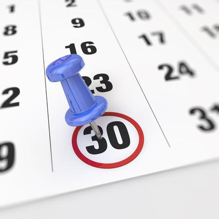 Calendar and blue pushpin. Mark on the calendar at 30.