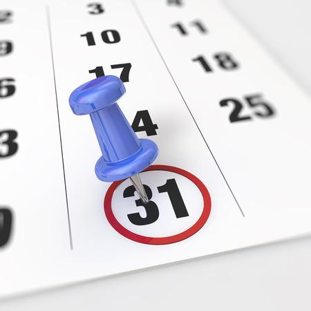 31: Calendar and blue pushpin. Mark on the calendar at 31.