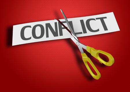 Ciseaux de coupe papier avec le texte conflit Banque d'images - 31281645
