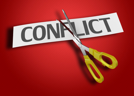 Scissors cutting paper with text conflict